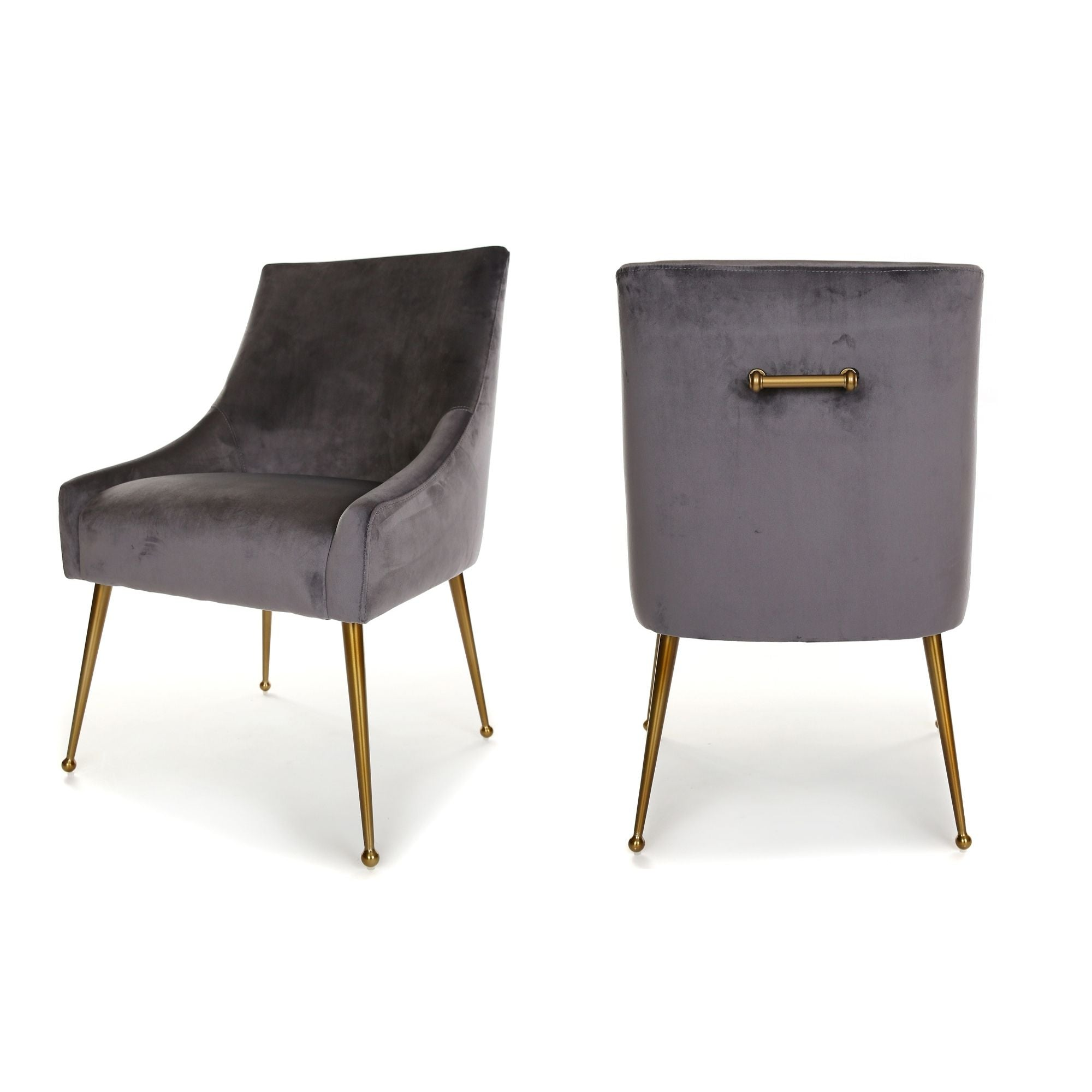 Finn Dining Chair, main image. Upholstered in Dark Grey Velvet, with Brushed Gold Legs and handle