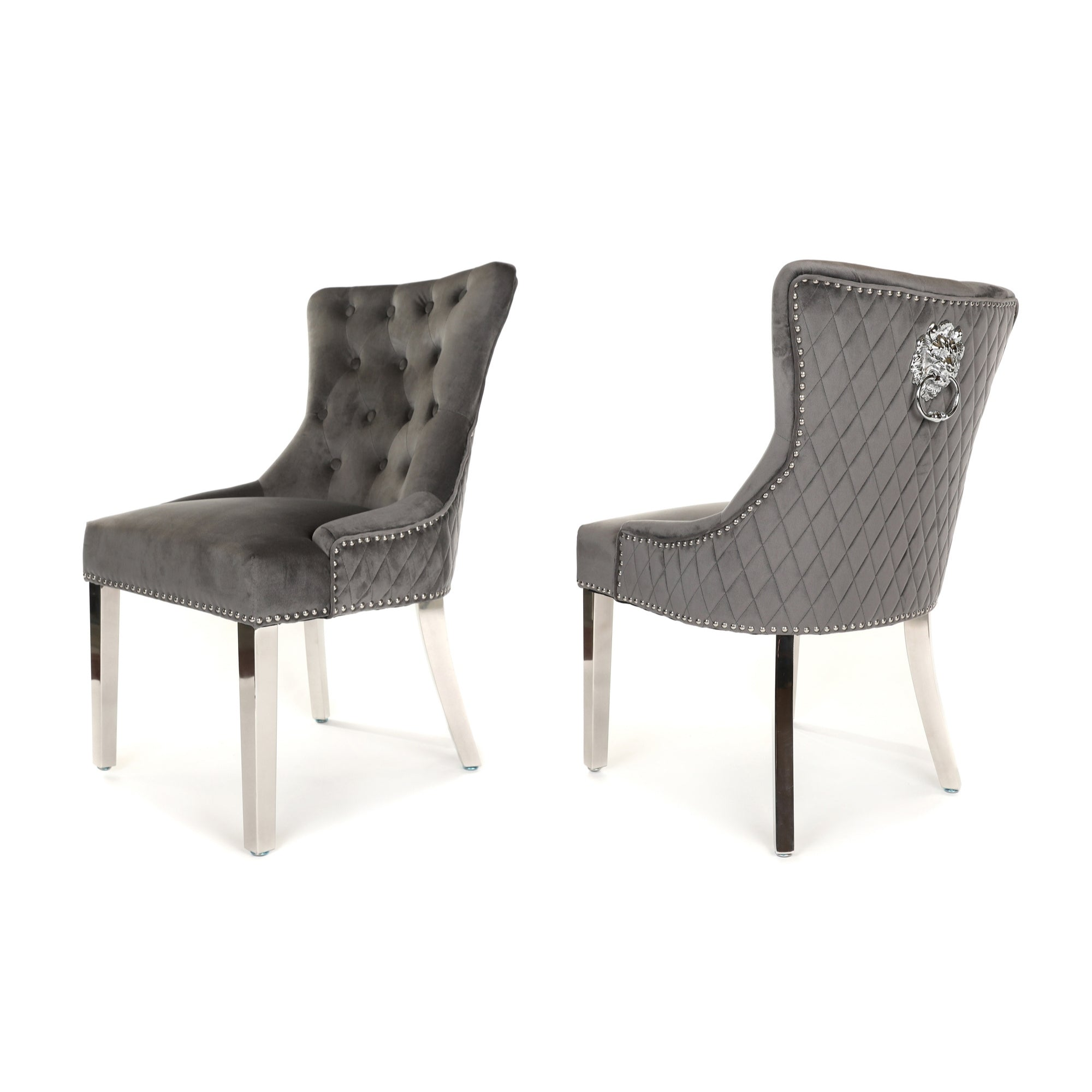 Simone Dining Chair upholstered in dark grey velvet with stud detail, lion knocker and metal legs