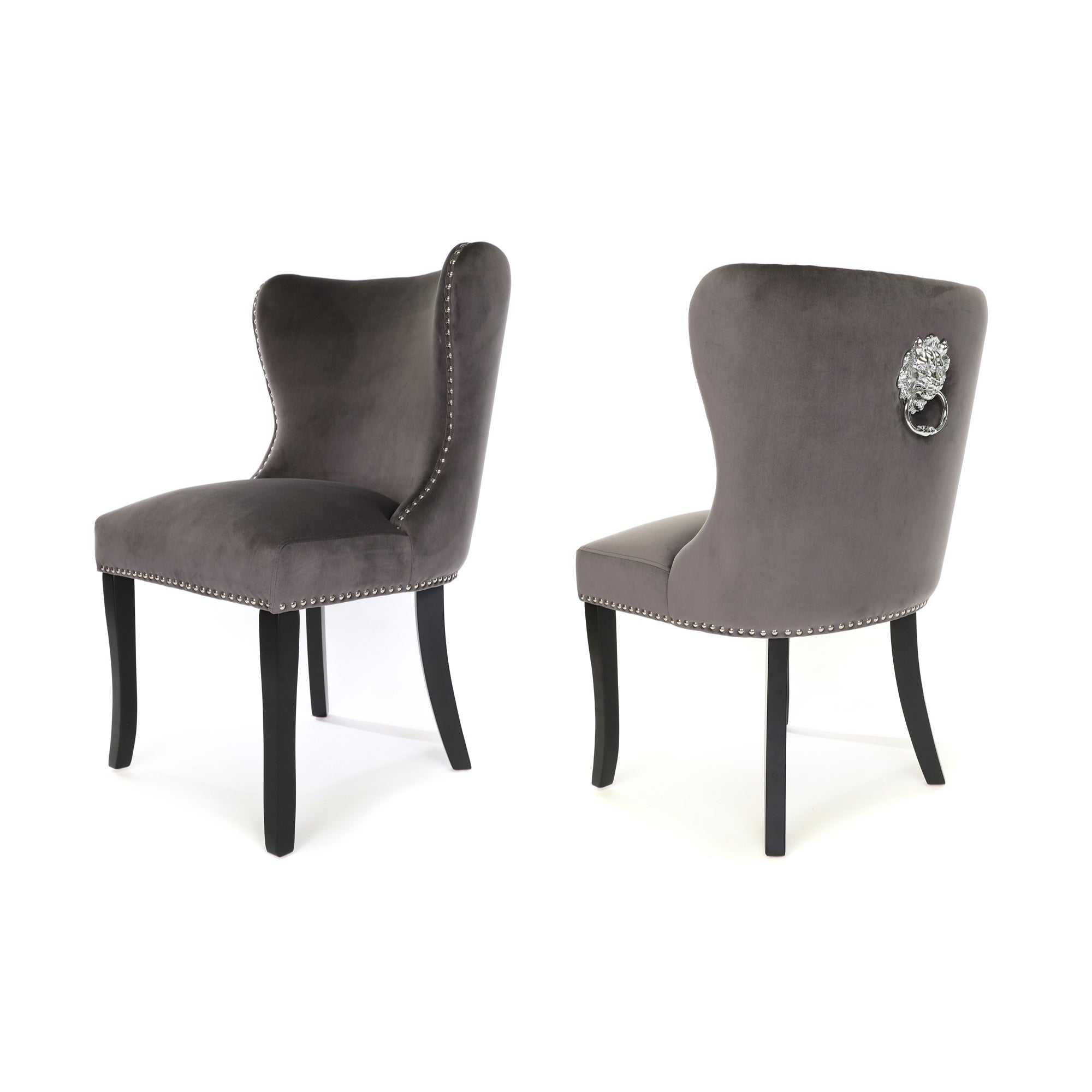 Amalfi Dining Chair, Charcoal  Grey Velvet, Black wood legs and a metal lion knocker
