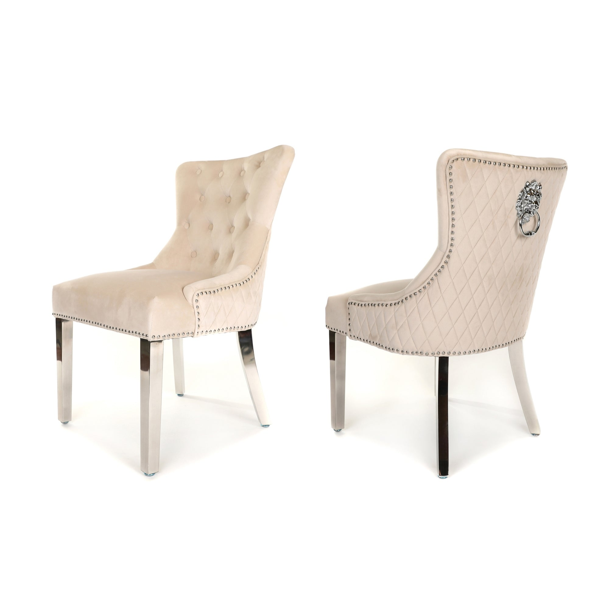 Simone Dining Chair upholstered in beige velvet with stud detail, lion knocker and metal legs