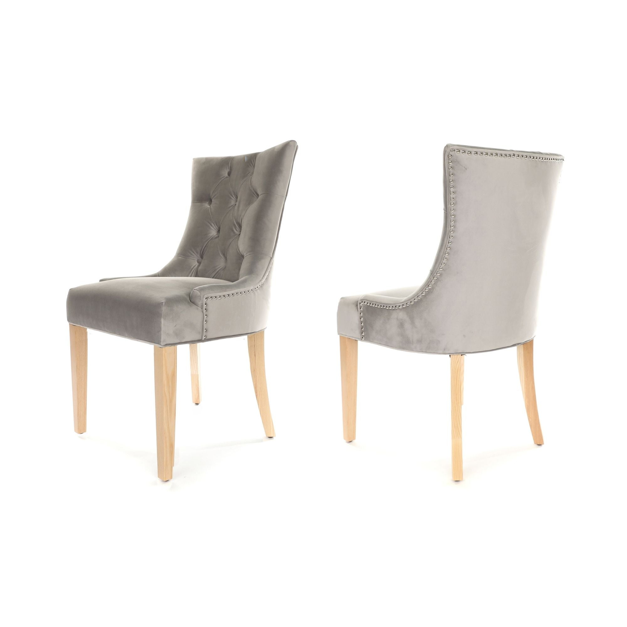 Porter Dining Chair, Light Grey fabric, Natural Wood legs and stud detail