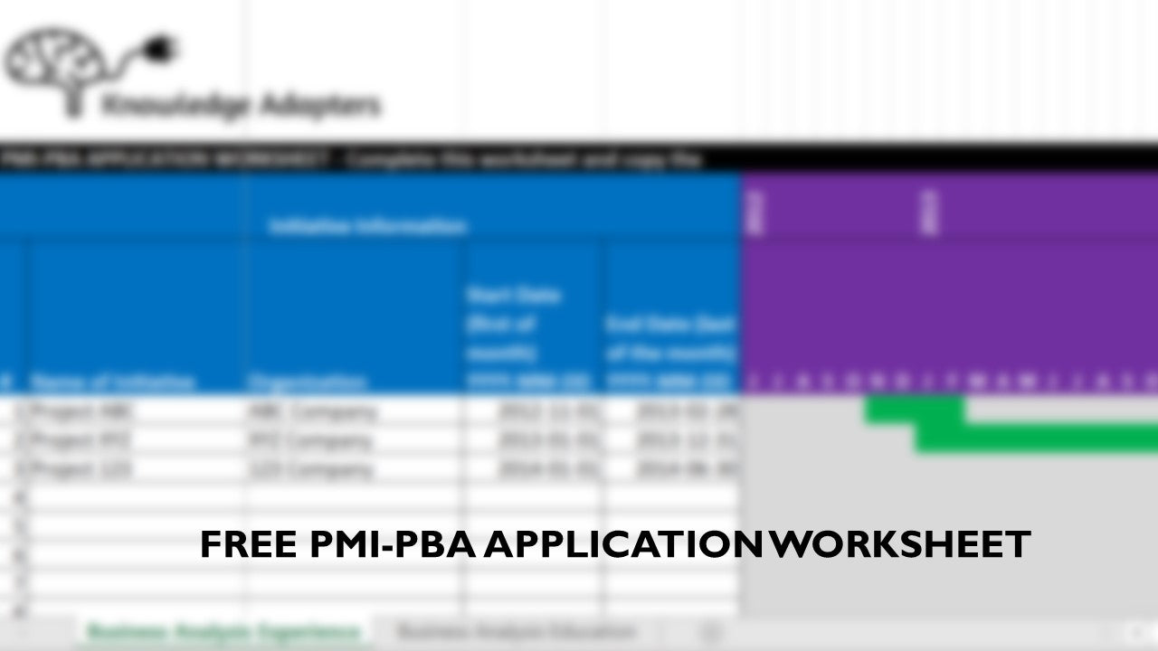 FREE PMI-PBA Application Worksheet