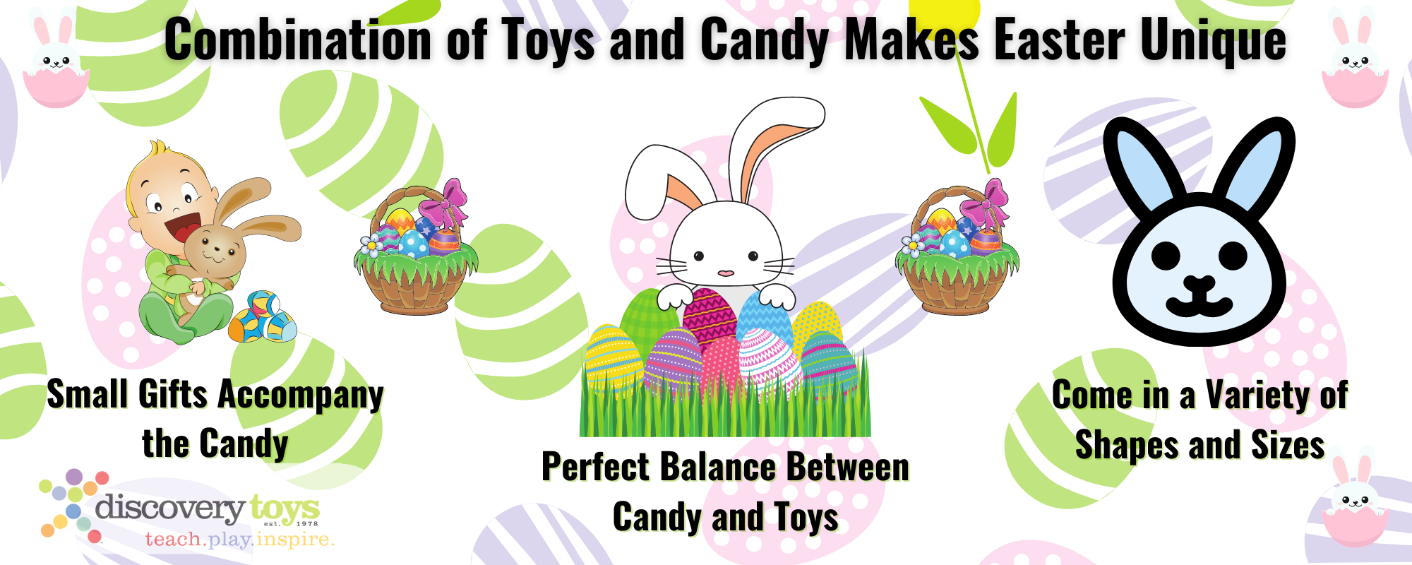 Infographic explaining how adding toys to Easter makes it special for children.