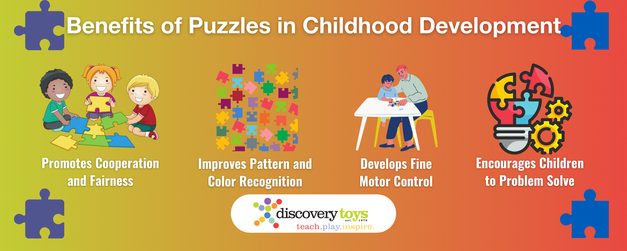 Infographic showing how puzzles contribute to child development