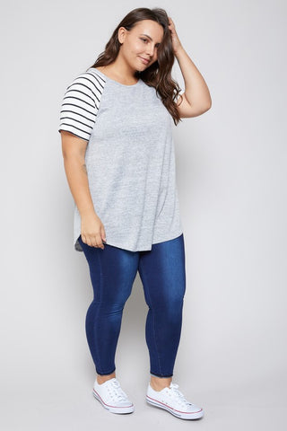 Striped Raglan Top - Grey