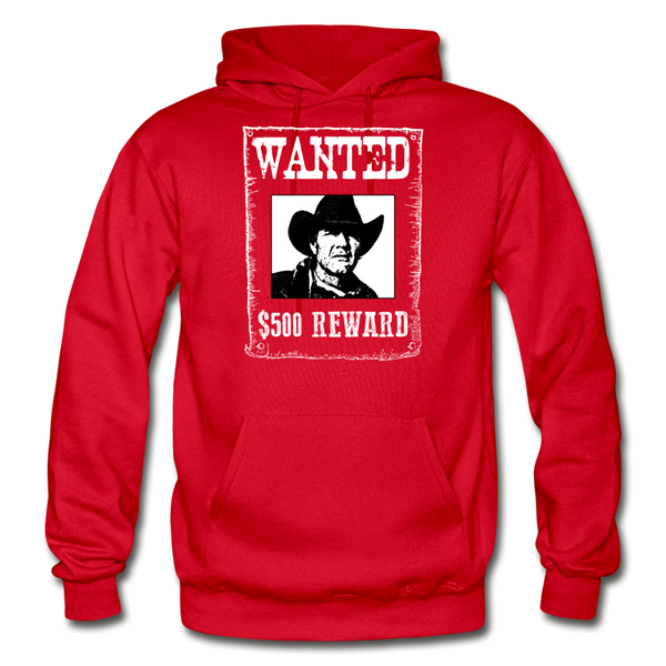 Wanted - Reward - Hooded Sweatshirt Front Print - red