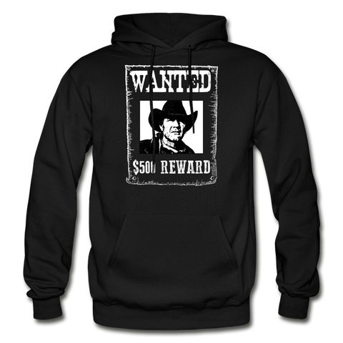Wanted - Reward - Hooded Sweatshirt Front Print - black