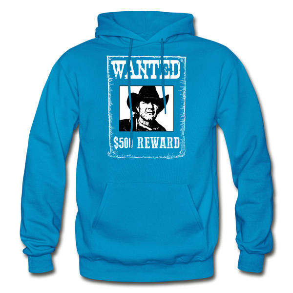 Wanted - Reward - Hooded Sweatshirt Front Print - turquoise