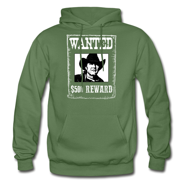 Wanted - Reward - Hooded Sweatshirt Front Print - military green