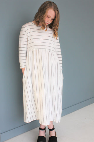Ivory Black Stripe Dress
