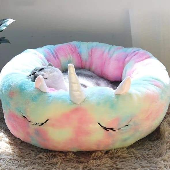 Rainbow Plush Unicorn Pet Bed - Catyfy