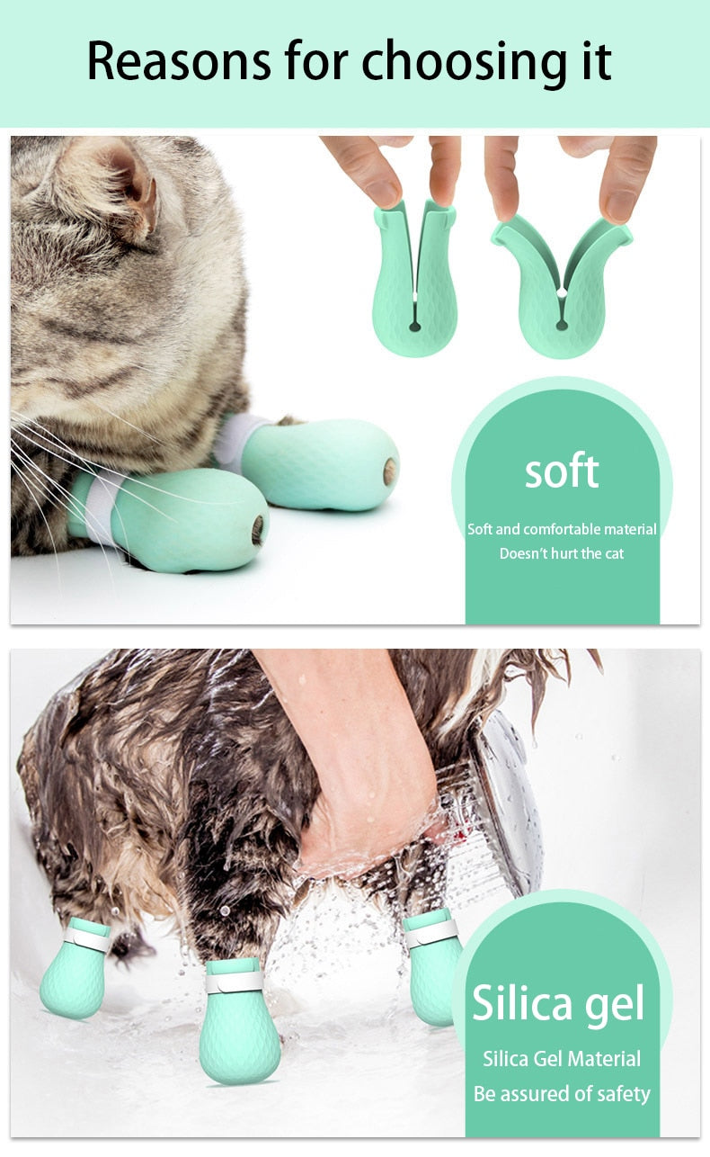 Adjustable Cat Paw Protector Shoes for Bath - Catyfy