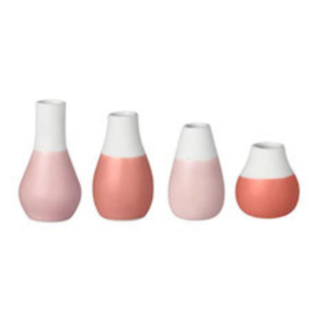 Mini Pink Toned Stoneware Vases • Set of 4