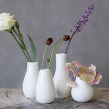 Load image into Gallery viewer, Mini White Porcelain Vases • Set of 4
