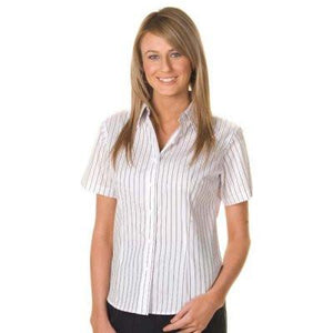 DNC Workwear-DNC Ladies Stretch Yarn Dyed Contrast S/S Stripe Shirt--Uniform Wholesalers - 1