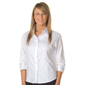 DNC Workwear-DNC Ladies Tonal Stripe 3/4 Sleeve Shirts--Uniform Wholesalers - 1