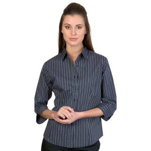 DNC Workwear-DNC Ladies Stretch Yarn Dyed Contrast 3/4 Sleeve Stripe Shirt--Uniform Wholesalers - 1