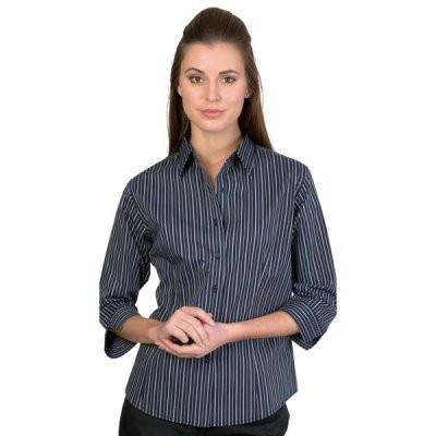 DNC Ladies Stretch Yarn Dyed Contrast 3/4 Sleeve Stripe Shirt (4234)