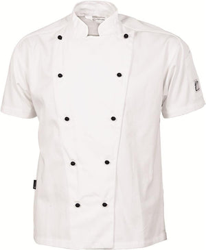 DNC Workwear-DNC Traditional Chef Jacket, Short Sleeve-XXS / White-Uniform Wholesalers - 1