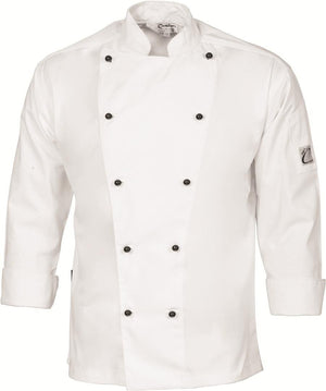 DNC Workwear-DNC Traditional Chef Jacket, Long Sleeve-XS / White-Uniform Wholesalers - 3
