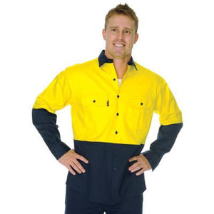DNC Workwear-DNC HiVis 2 Tone Cotton Drill L/S Vented Shirt--Uniform Wholesalers - 1