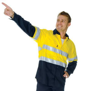 DNC Workwear-DNC HiVis Cool-Breeze Vertical Vented L/S Cotton Shirt with 3M R/T--Uniform Wholesalers - 1