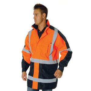 "DNC Workwear-DNC HiVis 2 Tone Cross Back ""2 in 1"" Contrast Rain Jacket--Uniform Wholesalers - 1"