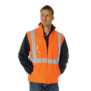 "DNC Workwear-DNC HiVis Cross Back D/N ""4 in 1"" Zip Off Sleeve Reversible Vest > 200D--Uniform Wholesalers - 1"