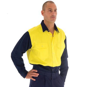 DNC Workwear-DNC HiVis Two Tone Drill Shirt With Press Studs--Uniform Wholesalers - 1