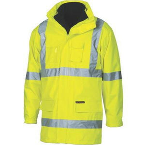 "DNC Workwear-DNC HiVis Cross Back ""6 in 1"" Contrast Jacket W/Generic Ref.Tape-S / Yellow-Uniform Wholesalers - 1"
