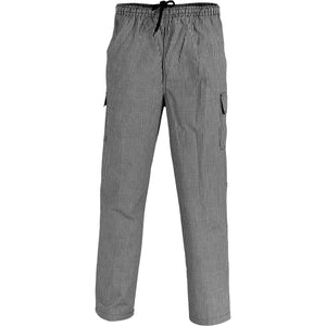DNC Workwear-DNC Polyester Cotton Drawstring Cargo Chef Pants-XS / Black&White Check-Uniform Wholesalers - 2