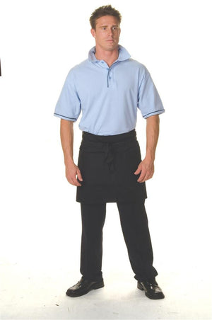 DNC Workwear-DNC Poly/Cotton Short (1/4) Apron No Pocket-0 / Black-Uniform Wholesalers