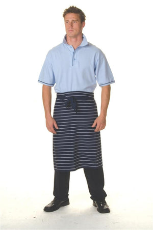 DNC Workwear-DNC Pinstripe 3/4 Apron No Pocket-0 / Blue/White Vertical Stripe-Uniform Wholesalers