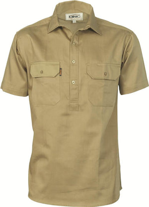 DNC Workwear-DNC Cotton Drill Closed Front S/S Work Shirt-S / Khaki-Uniform Wholesalers