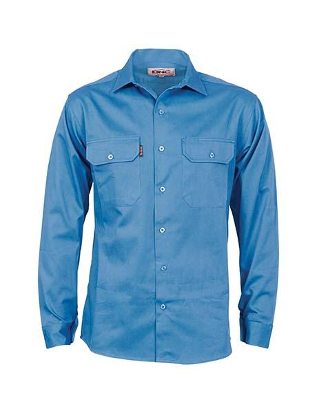 DNC Cotton Drill L/S Work Shirt with Gusset Sleeve (3209)
