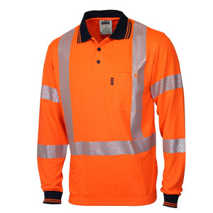 DNC Hivis Segmented Tape X Back Polo -LS (3510)