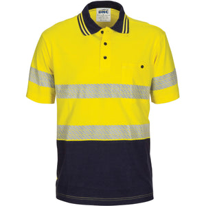 DNC Workwear-DNC Hivis Segment Taped Cotton Jersey Polo - Short Sleeve-XS / Yellow/Navy-Uniform Wholesalers - 1