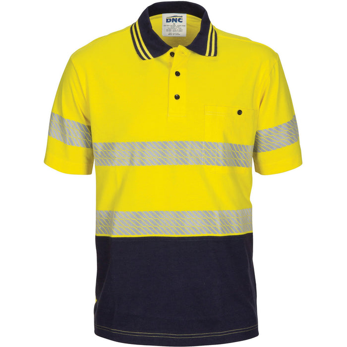 DNC Hivis Segment Taped Cotton Jersey Polo - Short Sleeve (3515)