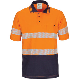 DNC Workwear-DNC Hivis Segment Taped Cotton Jersey Polo - Short Sleeve-S / Orange/Navy-Uniform Wholesalers - 2