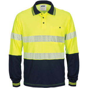 DNC Workwear-DNC HIVIS Segment Taped Cotton Backed Polo - Long Sleeve-Yellow/Navy / XS-Uniform Wholesalers - 1