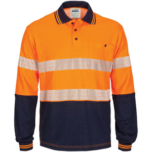 DNC Workwear-DNC HIVIS Segment Taped Cotton Backed Polo - Long Sleeve-Orange/Navy / XS-Uniform Wholesalers - 2
