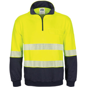 DNC Workwear-DNC Hivis Segment Taped 1/2 Zip Fleecy Windcheater-XS / Yellow/Navy-Uniform Wholesalers - 1