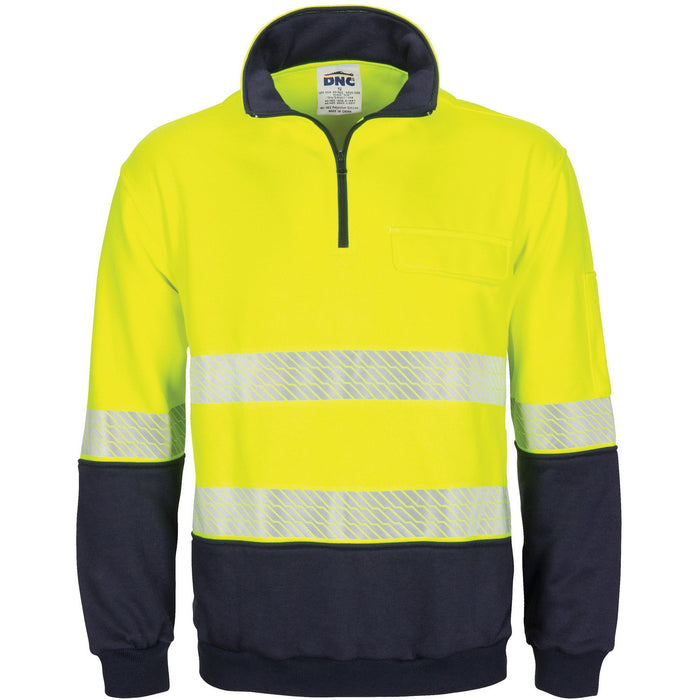 DNC Hivis Segment Taped 1/2 Zip Fleecy Windcheater (3529)