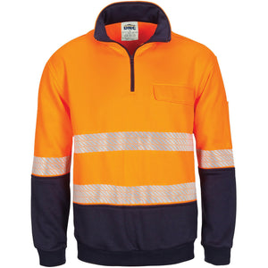 DNC Workwear-DNC Hivis Segment Taped 1/2 Zip Fleecy Windcheater-XS / Orange/Navy-Uniform Wholesalers - 2