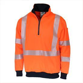 DNC Hivis Segmented Tape X Back 1/2 Zip Jumper (3533)