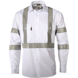 DNC Workwear-DNC Rta Night Worker White Shirt With Csr R/tape-S / White-Uniform Wholesalers