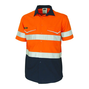 DNC Workwear-DNC Two-Tone RipStop Cotton Shirt with CSR Reflective Tape. S/S-Orange/ Navy / XS-Uniform Wholesalers - 1