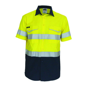 DNC Workwear-DNC Two-Tone RipStop Cotton Shirt with CSR Reflective Tape. S/S-Yellow/Navy / XS-Uniform Wholesalers - 3