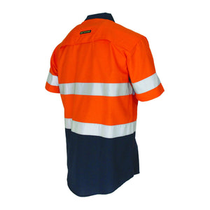 DNC Workwear-DNC Two-Tone RipStop Cotton Shirt with CSR Reflective Tape. S/S--Uniform Wholesalers - 2