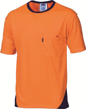DNC Workwear-DNC Cool Breathe Short Sleeve Poly Micromesh Tee-Orange/Navy / XS-Uniform Wholesalers - 2